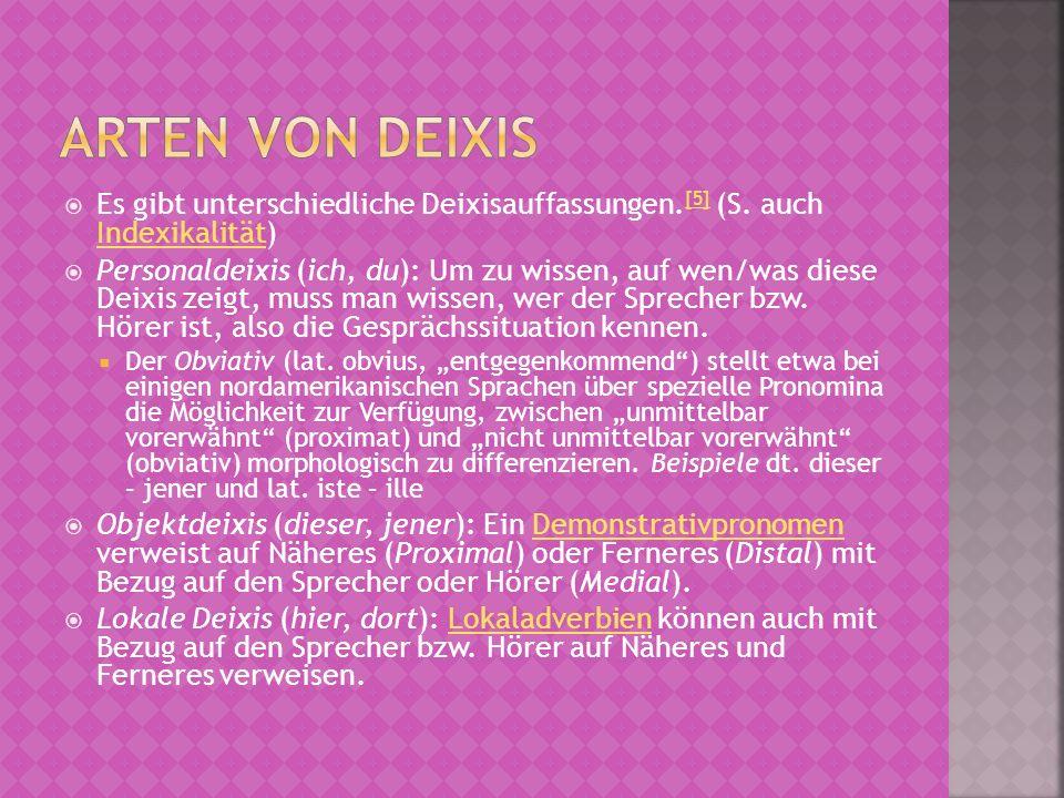 Arten von Deixis Es gibt unterschiedliche Deixisauffassungen.[5] (S. auch Indexikalität)